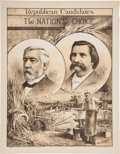 Political:Posters & Broadsides (pre-1896), Blaine & Logan: A Lovely Color-tinted 1884 Jugate Campaign Poster....