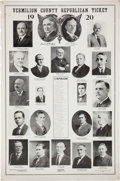"Political:Posters & Broadsides (1896-present), Harding & Coolidge: Great, Huge 24"" x 36"" 1920 Jugate Posterwith Illinois Candidates, Including ""Uncle Doc"" Cannon forCongre..."