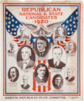 Political:Posters & Broadsides (1896-present), Harding & Coolidge: Spectacular Large Red, White and Blue Poster with Missouri Candidates....