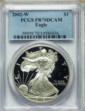 Modern Bullion Coins, 2002-W $1 Silver Eagle PR70 Deep Cameo PCGS. PCGS Population (2217). NGC Census: (4097). Numismedia Wsl. Price for problem...