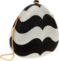 Luxury Accessories:Bags, Judith Leiber Full Bead Black & Silver Crystal French CurveMinaudiere Evening Bag. Very Good to Excellent Condition....