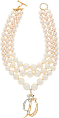 """Christian Dior Gold, Silver & Glass Pearl Necklace by Gianfranco Ferre Excellent Condition 40"""" Le"""