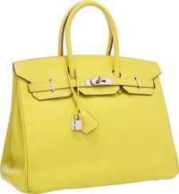 Hermes Limited Edition Candy Collection 35cm Lime & Gris Perle Epsom Leather Birkin Bag with Palladium Hardware &...