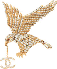 "Chanel Gold & Clear Crystal Eagle Brooch Excellent Condition 3.5"" Width x 3"" Height"
