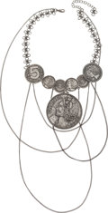 "Luxury Accessories:Accessories, Chanel Silver Medallion Necklace. Excellent Condition. 16"" Length. ..."