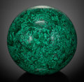 Lapidary Art:Eggs and Spheres, Very Large Malachite Sphere . Katanga Copper Crescent, Katanga,Democratic Republic of Congo. ...