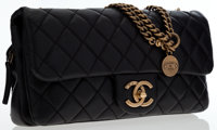 "Chanel Black Quilted Lambskin Leather Flap Bag with Brass Hardware Very Good Condition 10"" Width x 5"" Height..."