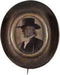 Political:Ferrotypes / Photo Badges (pre-1896), Horace Greeley: Wearing a Hat Inside a Hat!...