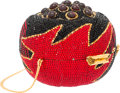 "Luxury Accessories:Bags, Judith Leiber Full Bead Red & Black Crystal Lotus MinaudiereEvening Bag. Very Good to Excellent Condition. 4.5""Width..."