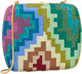 Luxury Accessories:Bags, Judith Leiber Full Bead Multicolor Crystal Geometric SquareMinaudiere Evening Bag. Very Good to Excellent Condition....