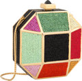 "Luxury Accessories:Bags, Judith Leiber Full Bead Multicolor Geometric Minaudiere EveningBag. Excellent Condition. 4"" Width x 4"" Height x 2.5""..."