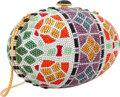 "Luxury Accessories:Accessories, Judith Leiber Full Bead Multicolor Crystal Egg Minaudiere Evening Bag. Good to Very Good Condition. 6"" Width x 4"" Heig..."