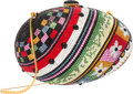"""Luxury Accessories:Accessories, Judith Leiber Full Bead Multicolor Crystal Egg Minaudiere Bag. Very Good Condition. 6"""" Width x 4"""" Height x 3"""" Depth..."""