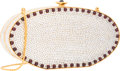 "Luxury Accessories:Accessories, Judith Leiber Full Bead Silver Crystal Oval Minaudiere Bag.Excellent Condition. 7"" Width x 3"" Height x 2"" Depth...."