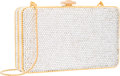 """Luxury Accessories:Accessories, Judith Leiber Full Bead Silver Crystal Rectangular MinaudiereEvening Bag. Excellent Condition. 6"""" Width x 3.5""""Height..."""