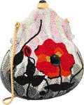 Luxury Accessories:Bags, Judith Leiber Full Bead Orange & Silver Crystal Poppy FlowerChatelaine Minaudiere Evening Bag. Very Good to ExcellentCon...