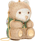 "Luxury Accessories:Bags, Judith Leiber Full Bead Brown & Green Crystal Teddy BearMinaudiere Evening Bag. Excellent Condition. 3.5"" Width x5.5..."