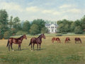 Fine Art - Painting, American:Contemporary   (1950 to present)  , Richard Stone Reeves (American, 1919-2005). Claiborne Farm,Kentucky, 1955. Oil on canvas. 14 x 18 inches (35.6 x 45.7 c...