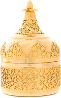 "Luxury Accessories:Home, Judith Leiber Gold Floral Decorative Box. Very Good to ExcellentCondition. 4"" Width x 7"" Height x 4"" Depth. ..."