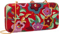 """Luxury Accessories:Bags, Judith Leiber Full Bead Red & Multicolor Crystal FloralMinaudiere Evening Bag. Excellent Condition. 6.75"""" Widthx 3.5..."""