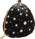 """Luxury Accessories:Bags, Judith Leiber Full Bead Black & Silver Crystal SnowflakeMinaudiere Evening Bag. Very Good to Excellent Condition.5"""" ..."""