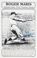 Baseball Collectibles:Photos, 1980's Roger Maris Signed Sixty-First Home Run Display Card....