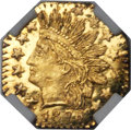 California Fractional Gold , 1876 25C Indian Octagonal 25 Cents, BG-799B, R.8, MS67 DeepProoflike NGC....