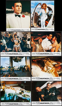 "Goldfinger (United Artists, R-1970s). French Lobby Card Set of 8 (8.5"" X 10.75""). James Bond. ... (Total: 8 It..."