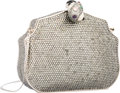 "Luxury Accessories:Bags, Judith Leiber Full Bead Silver Crystal Curved RectangularMinaudiere Evening Bag. Excellent Condition. 5.5"" Width x4""..."