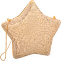 """Luxury Accessories:Bags, Judith Leiber Full Bead Gold Crystal Star Minaudiere Evening Bag.Very Good Condition. 5.5"""" Width x 6"""" Height x 2""""Dep..."""