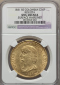 Colombia, Colombia: Nueva Granada gold 16 Pesos 1841-RS UNC Details (SurfaceHairlines) NGC,...
