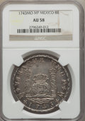 Mexico, Mexico: Philip V Pillar Dollar of 8 Reales 1743 Mo-MF AU58 NGC,...