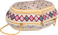 """Luxury Accessories:Accessories, Judith Leiber Full Bead Silver Crystal Minaudiere Evening Bag. Excellent Condition. 6"""" Width x 2.5"""" Height x 3"""" Depth..."""
