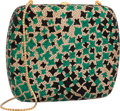 "Luxury Accessories:Bags, Judith Leiber Full Bead Green & Gold Crystal RectangularMinaudiere Evening Bag. Excellent to Pristine Condition.5"" W..."