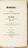 Books:Literature Pre-1900, Egerton Brydges. Restituta; or, Titles, Extracts, and Charactersof Old Books in English Literature, Revived, Vols... (Total: 4Items)