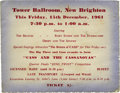 Music Memorabilia:Tickets, Beatles Tower Ballroom Show Ticket, 1961. After a successful stintin Germany in 1960, the Beatles returned to the U.K. and...