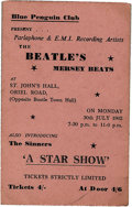 Music Memorabilia:Tickets, Beatles St. John's Hall Concert Ticket. From the band's July 30, 1962, evening performance at the hall, then called the Blu...