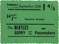 Music Memorabilia:Tickets, Beatles/Pacemakers Concert Ticket. A ticket for a September 25,1962, performances by the Beatles and Gerry and the Pacemak...