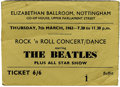 Music Memorabilia:Tickets, Beatles Nottingham Concert Ticket. A used ticket for a March 7,1963 all-star performance that featured the Beatles, Gerry ...