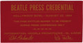 Music Memorabilia:Tickets, Beatles Press Credential. A press pass for the press conferenceheld prior to the band's August 23, 1964 performance at the...