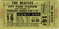 Music Memorabilia:Tickets, Beatles City Park Stadium Concert Ticket. A ticket from the FabFour's September 16, 1964 performance at the City Park Stad...