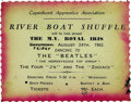 "Music Memorabilia:Tickets, Beatles River Boat Shuffle Handbill. Small 4.5"" x 3"" advertisementfor the ""River Boat Shuffle,"" an August 24, 1962, perfor..."