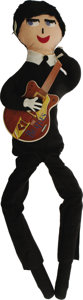 "Music Memorabilia:Memorabilia, Beatles Cloth George Harrison Doll. A difficult-to-find 28"" clothdoll likeness of George Harrison, manufactured by Remco c..."