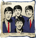 "Music Memorabilia:Memorabilia, Beatles Pillow. A 12"" square pillow, cream colored top with blueback. In Excellent condition with some mild discoloration..."