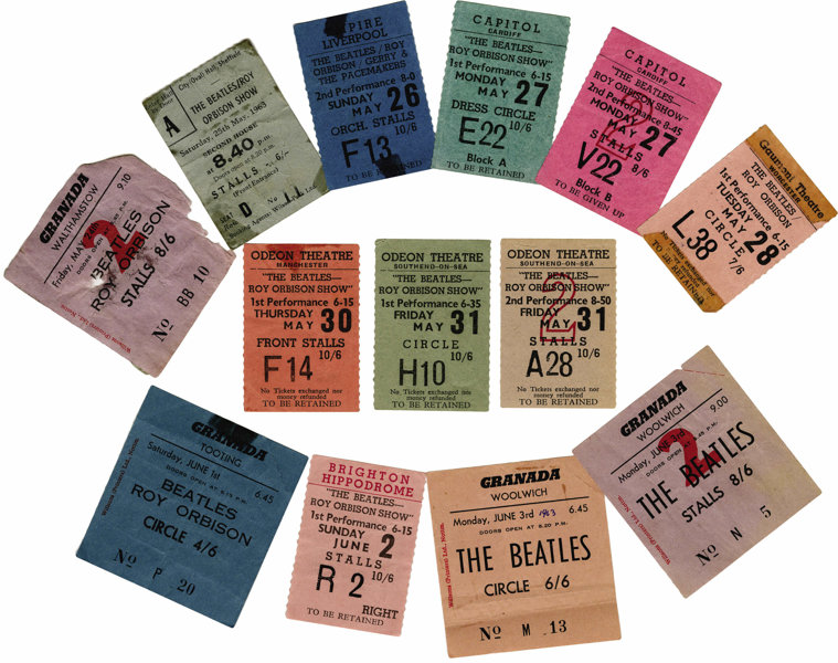 Music Memorabilia:Tickets, Beatles/Roy Orbison Ticket Group. An almost complete run of tickets dating from May 24-June 3, 1963 (only a stub from the M...