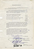 "Movie/TV Memorabilia:Autographs and Signed Items, Beatles Signed Document. A single-page document addressing certainfinancial aspects pertaining to ""The Beatles and Co."" spa..."
