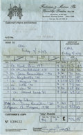 Music Memorabilia:Autographs and Signed Items, George Harrison Wine Receipt. Not only was George Harrison atalented musician, he apparently had great taste in wine as we...