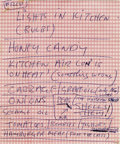 "Music Memorabilia:Autographs and Signed Items, John Lennon Handwritten Shopping List. Written in blue ballpoint oncheckered pink stationery and addressed to ""Fred,"" reque..."