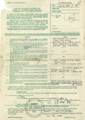 Music Memorabilia:Autographs and Signed Items, John Lennon Signed Income Tax Form. A Form MI United Kingdom IncomeTax Claim By an Individual Who Is a Resident of the Uni...