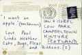 Music Memorabilia:Autographs and Signed Items, Paul McCartney Signed Postcard. Postmarked January 28, 1968, andinscribed by by McCartney in blue ink. In great condition w...